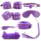 7Pcs/set SM Game Bed Restraint Kit Leather Bondage Handcuffs Fetter Eye Mask Rope Sex Toy for Couple Adult purple