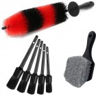7pcs Wheel Tire Brush Car Detailing Kit Soft Wheel Brushcar Wash Kit black
