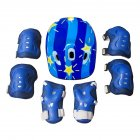 7pcs/set Children Roller Skating Protectors Helmet Skateboard Elbow Wrist Protectors (Butterfly Style) blue