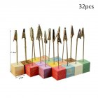 8 24 32pcs Colorful Pine Wedding Menu Clip Photo Holder with Wooden Base 32pcs