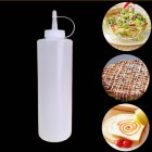8 24oz Clear Plastic Squeeze Bottle Condiment Dispenser with Scale 24oz