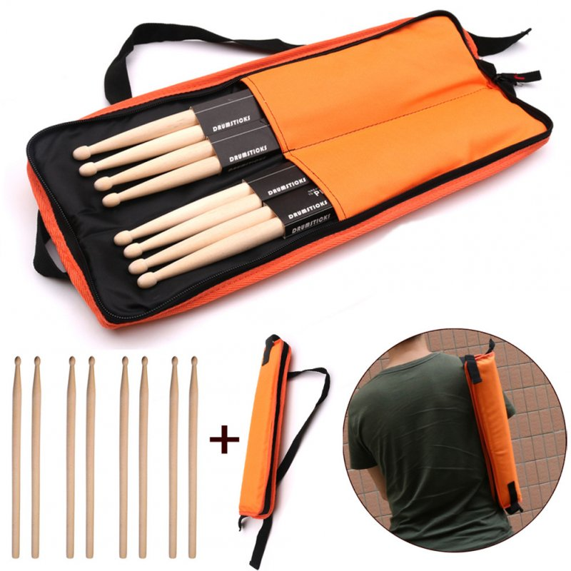 8 Pcs Drum Sticks 5A Classic Maple Drumsticks for Jazz Combo Exercises Performance + Bag Orange