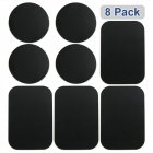 8 Pcs Magnetic Metal Plates Sticker for Smart Phones Matte Black