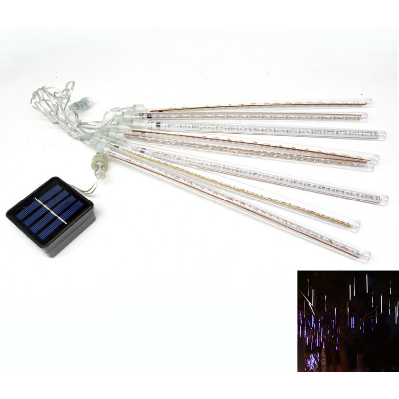 8 Tubes/Set LED 30cm Meteor Shower Solar Lamp Falling Rain Fairy String Lights Ultra Bright Drop Decoration Light  white