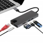 8 in 1 USB C Hub HDMI VGA Ethernet Lan RJ45 Adapter for Macbook Pro Type C Hub Card Reader 2 USB 3.0 + Type-C Charging Port gray