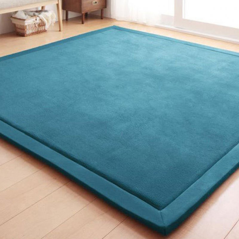 80X200CM Coral Fleece Carpet Kids Game Mat Play Crawling Gym Blanket Floor Rug Decoration blue-green_80X200CM