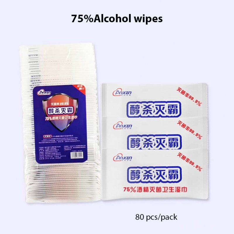 80sheets/Pack Portable 75% Ethanol Wet Wipes Antiseptic Cleaning Sterilization Wipes Wet Wipes  80 pcs