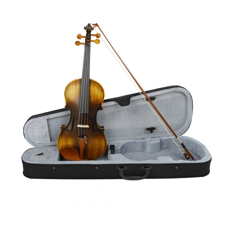 81*27*14CM 4/4 Violin Natural Acoustic Solid Wood Violin Fiddle with Case Rosin Sets With EQ