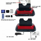 875-J HDD Base with Multi Card Reader Slot for 2.5/3.5 inch SATA/IDE Hard Drive Docking Station Black+Red