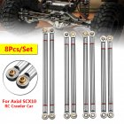 8PC Aluminum Alloy Link Support Rod 313mm Wheelbase for Axial SCX10 1/10 RC Crawler Car Parts silver