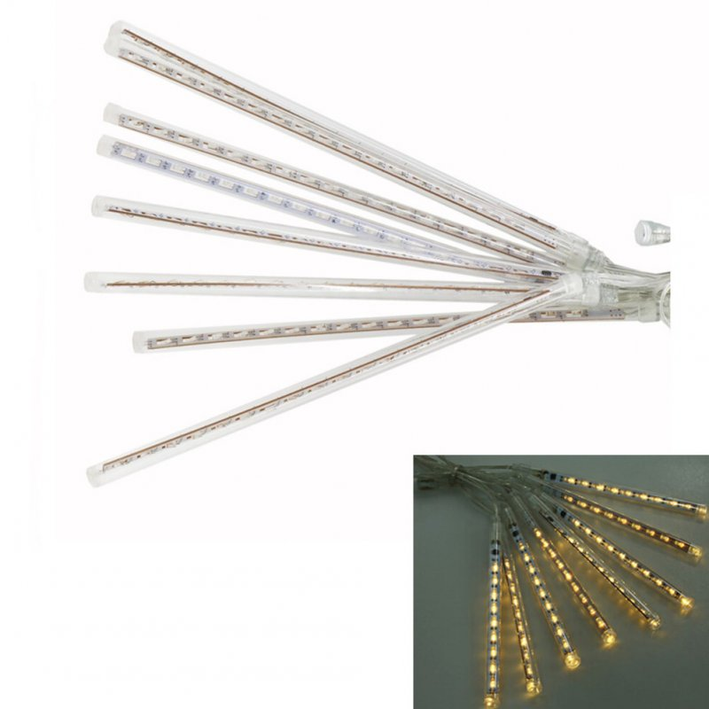 8PCS EU Plug 220V 30CM Waterproof LED Meteor Shower Light Decorative Lamp (SMD LED Version) Warm white light