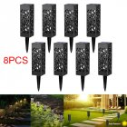 8Pcs IP44 Waterproof Solar Hollow Lawn Lamp Decoration White light 6500K