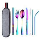 8Pcs/Set Stainless Steel Drinking Straw Knife Fork Spoon Chopsticks Cutlery Set for Travel Dream Color