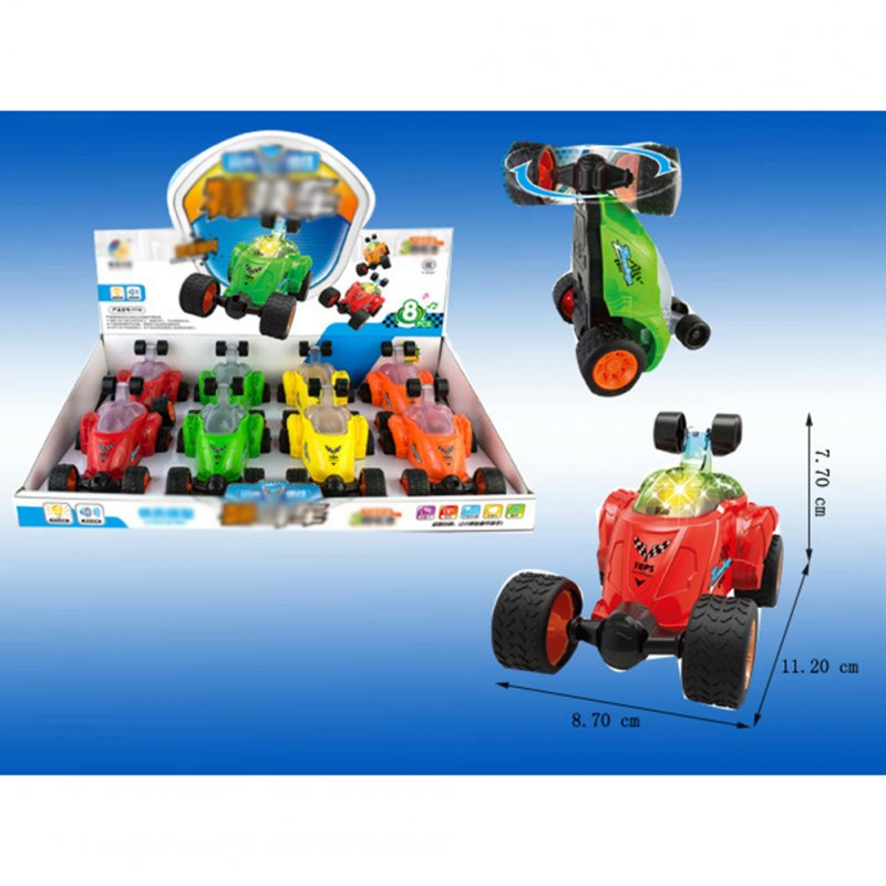8pcs Stunt Car with Light and Music, Electric Mini Dump Car Rolling Rotating Wheel Vehicle, Truck Kids Toy