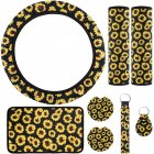 8pcs Sunflower Steering Wheel Cover Car Seat Belt Cover Armrest Cushion Sunflowers Keyring Coaster