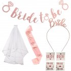 8pcs/set Bride Headband Delicate Veil Hair Clip Set white