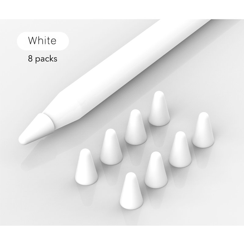8pcs/set Silicone Case for Apple Pencil Pocket Cover Accessories for iPad Pro Soft Grip Nib Covers white