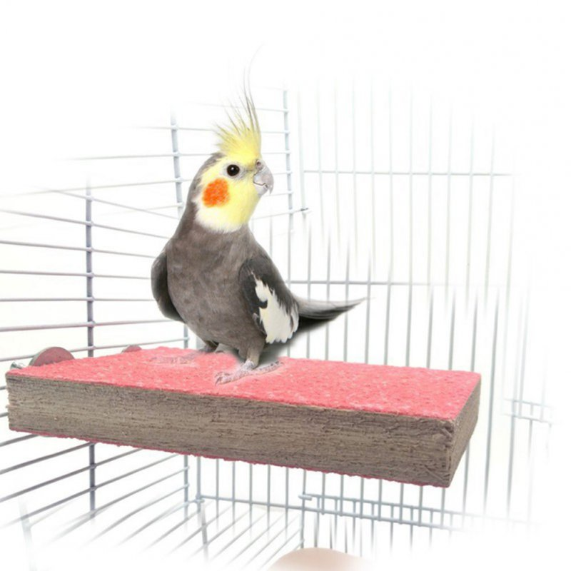 9*13CM Bird Parrot Perch Stand Claw-grinding Board Pet Toys (Random Colour) Random delivery