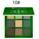 9 Colors Pro Eyeshadow Palette Matte Shimmer Waterproof Long-lasting Eye Shadows 10 green