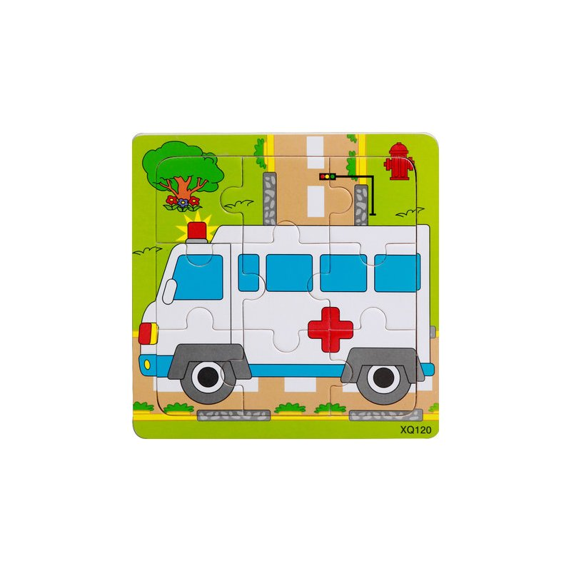 9 Slices Kids Wooden Vehicle Pattern Puzzles Jigsaw Baby Educational Learning Toy ambulance