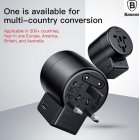 9 in 1 Portable Mobile Phone Charger Adapter Multi-Country Plugs EU AU UK US Dual USB Travel Charger Rotary Switch  black