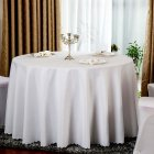 94  Round Solid Color Tablecloth Cover for Banquet Wedding Party Decoration Diameter 2 4m  white