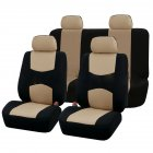 9Pcs Car Seat Covers Set for 5 Seat Car Universal Application 4 Seasons Available Beige