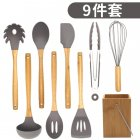 9Pcs/Set Kitchen Utensil Set Silicone Cooking Nonstick Cookware Spatula Spoon Set  with bamboo seat
