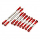 9Pcs WLtoys 12428 FY-03 Adjustable Metal Pull Rod for 1:12 RC Car Upgrade Accessories red