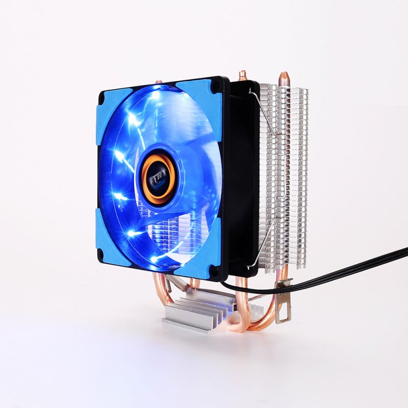 9cm CPU Cooler Pure Copper Double Heat Pipe CPU Radiator Brass Tower CPU Fan Cooling System blue light
