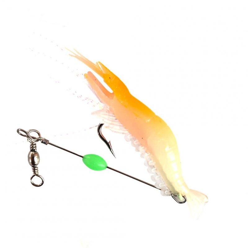 9cm Simulation Prawn Fishing lure Multicolor Luminous Tackle Bait Sea fishing Soft bait fishing tool 1#Orange head luminous