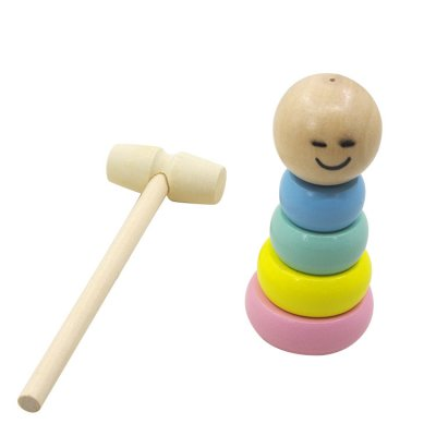 A Little Small Wooden Unbreakable Smile Face Man Puppet Funny Toy Magic Gift for Adult Kids as the picture shows