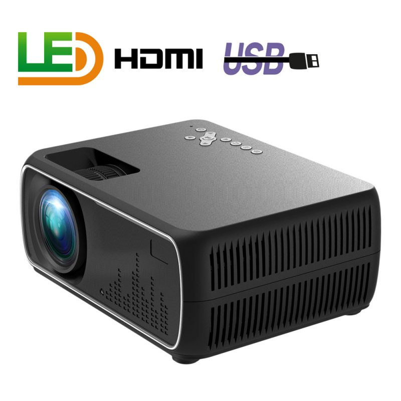 A20 Mini Projector HD 1080P TV Projector Home Cinema Projector  Basic black EU plug