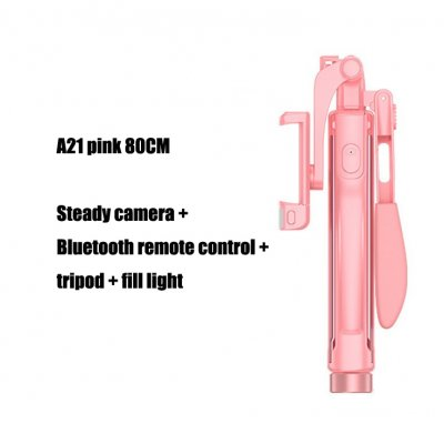 A21 Video Stabilizer Selfie Stick Tripod Bluetooth Tripod Selfie Stick Fill Light for iPhone Xiaomi Huawei Gimbal Mobile Phone Pink-80cm