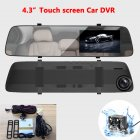 A5+ 4.3 Inches IPS Screen Car DVR  Dual Cameras Rearview 1080P HD Night Vision Car Camera Mirror Dashcam  As shown