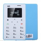 AIEK M5 Thin Bar Mini Pocket Mobile Cell Phone Card Alarm Clock 128M GSM For Kids Blue