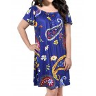 AMZ PLUS Women Boat Neck Floral Loose Plus Size Short Shift Dress