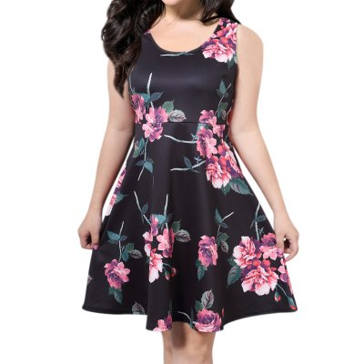 AMZ PLUS Sleeveless Floral Short Sundress