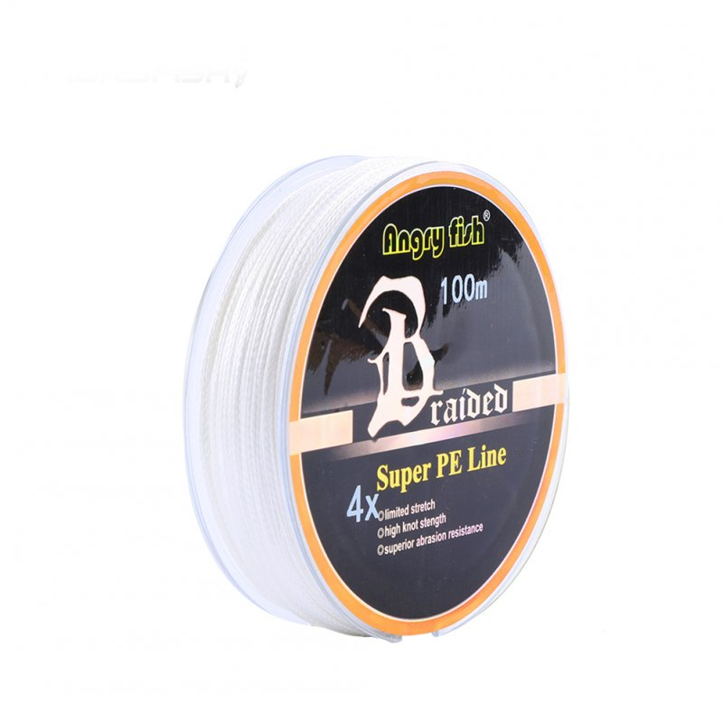 ANGRYFISH Diominate PE Line 4 Strands Braided 100m/109yds Super Strong Fishing Line 10LB-80LB White 0.4#: 0.10mm/10LB