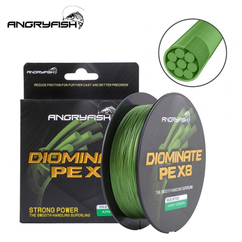 ANGRYFISH Diominate PE X8 Fishing Line 500M/547YDS 8 Strands Braided Fishing Line Multifilament Line Army Green 6.0#:0.40mm/70LB
