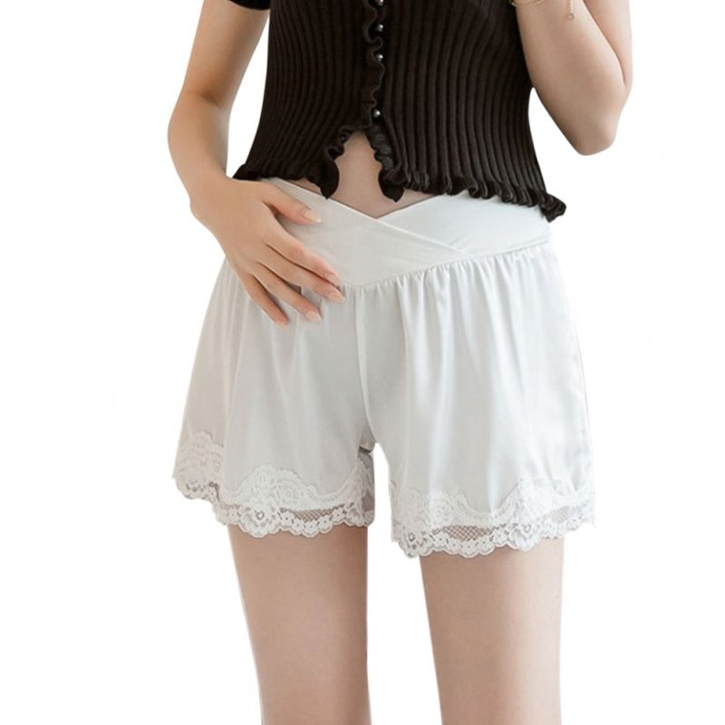 Abdominal Shorts Summer Pregnant Women Casual Lace Maternity Pants white_L