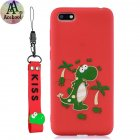 Acekool for HUAWEI Y5 2018 Cartoon Lovely Coloured Painted Soft TPU Back Cover Non-slip Shockproof Full Protective Case with Lanyard red