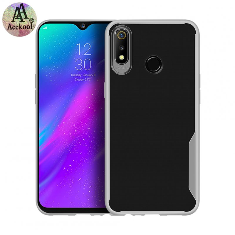 Acekool for OPPO realme 3 Ultra Slim Translucent Back Cover Non-slip Shockproof TPU Full Protective Case  Transparent White