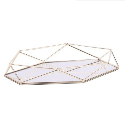 Acrylic Mirror Tray Storage Organizer Makeup Tray Nordic Style Retro Geometry Glass Box Jewelry Display Dessert Plate Gold