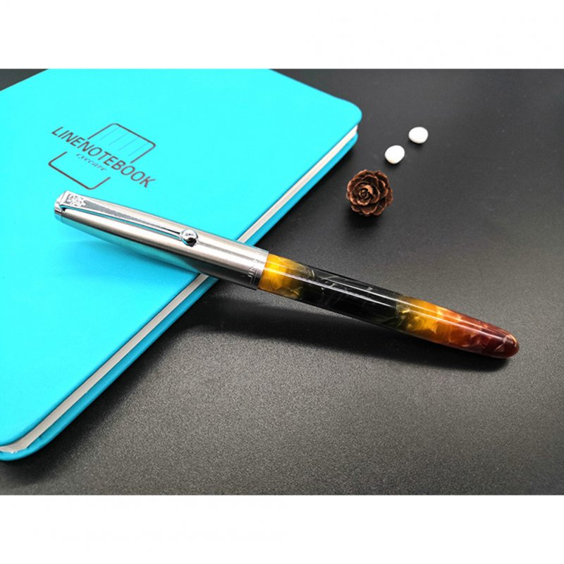 Acrylic Pen Classic Translucent Business Signature Student Pen for School Office Brown acrylic_Dark tip 0.8MM