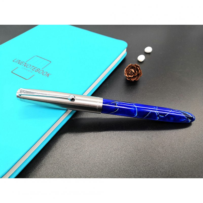 Acrylic Pen Classic Translucent Business Signature Student Pen for School Office Dark blue acrylic_Bright tip 0.5MM-26 tip