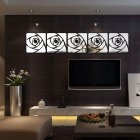 Acrylic Rose Creative Mirror Wall Stickers Decorative Mirror Crystal Flower Mirror Paste SM094 silver 30X30cm