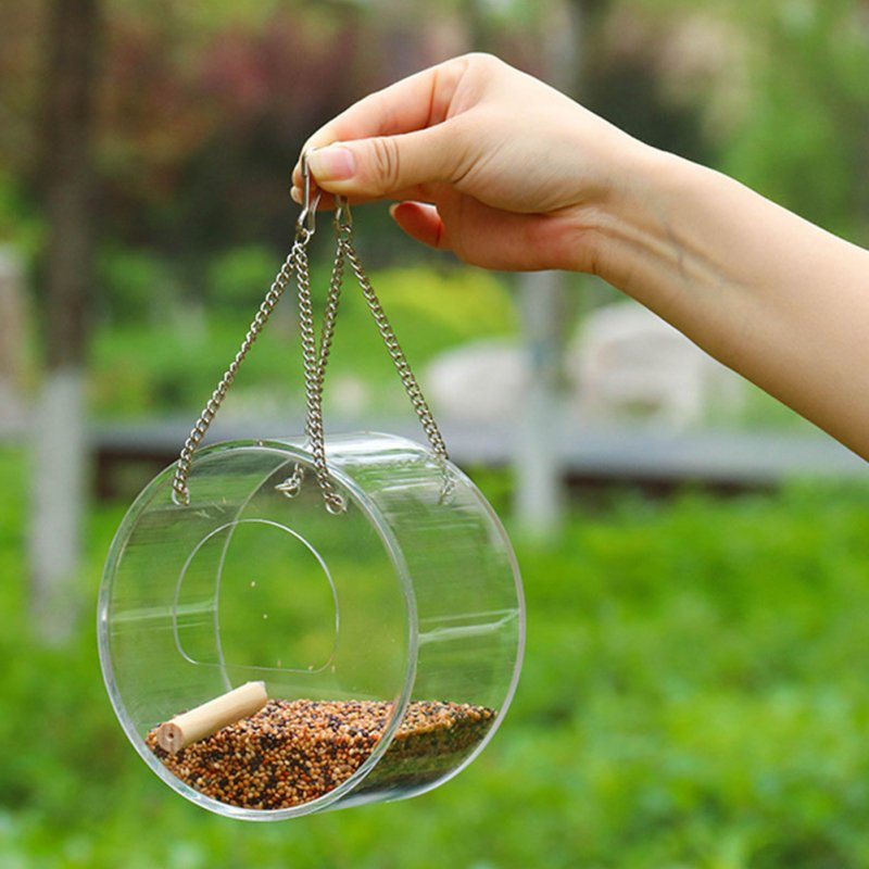 Acrylic Transparent Bird Feeder Hanging Outdoor Bucket for Tree Garden Decoration  Transparent_Ring type