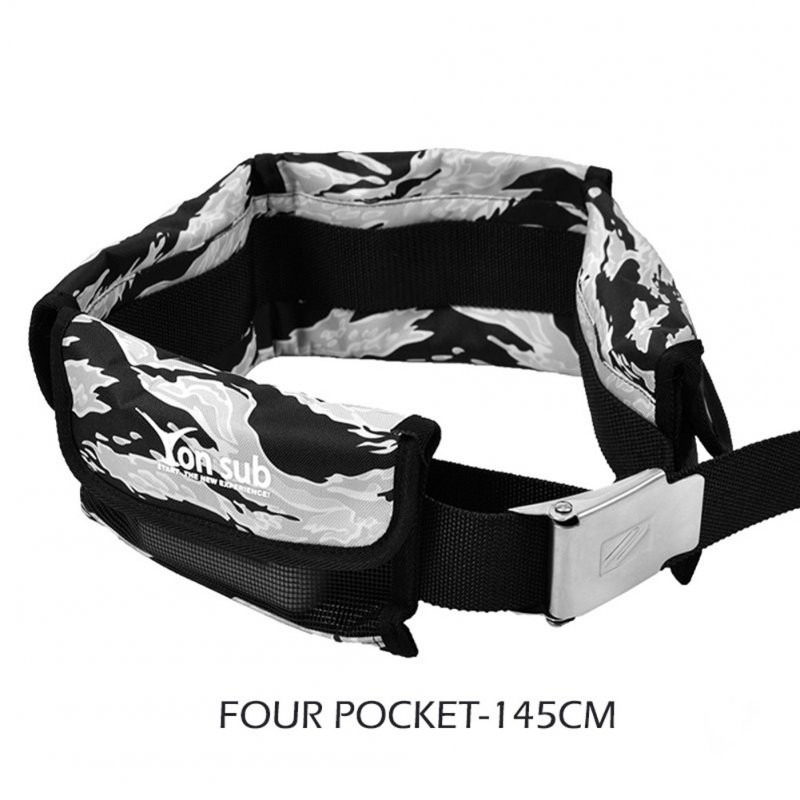 Adjustable 4/3 Pocket Diving Weight Belt With Stainless Steel Buckle Water Sport Equipment  Gray camouflage_4 pocket models