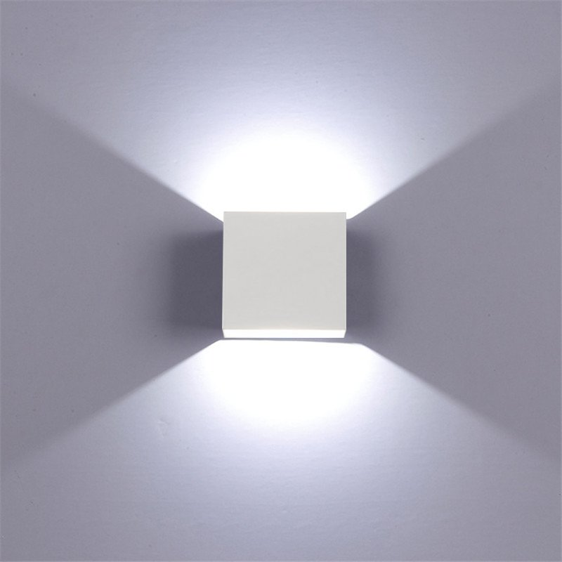 Adjustable 6W LED Wall Lamp AC85-265V COB Waterproof Aluminum Cube Outdoor Porch Wall Light  White light